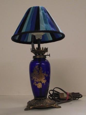Lampe en verre bleu